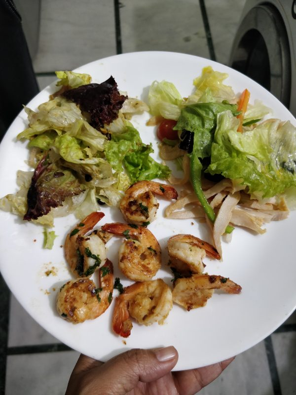 prawns served with salad
